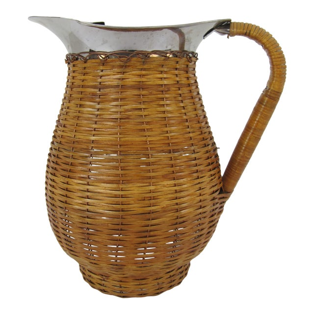Vintage Water Pitcher Wrapped in Wicker For Sale