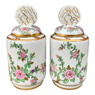 Vintage Limoges Hand Painted Porcelain Lidded Decorative Jars - a Pair For Sale