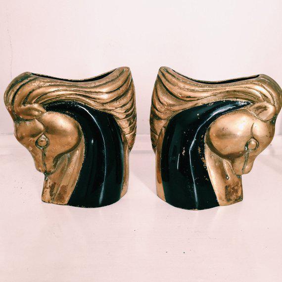 Vintage Art Deco Brass & Black Horse Head Vases - a Pair For Sale In Nashville - Image 6 of 6