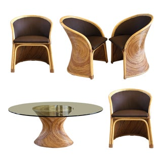 1970s Mid-Century Gabriella Crespi Sculptural Reeded Bamboo Dining Set – 5 Pieces For Sale