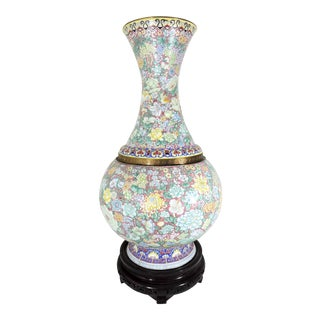 Impressive Asian Enamel Over Brass 1000 Flowers Export Floor Vase & Carved Wood Display Stand For Sale