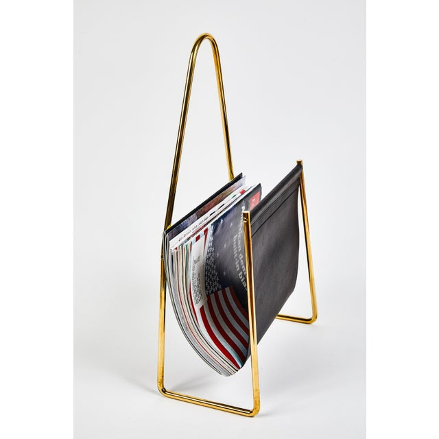 Mid-Century Modern Carl Auböck Model #3808 Brass and Leather Magazine Rack For Sale - Image 3 of 11