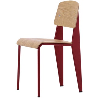 Jean Prouvé Standard Chair in Natural Oak and Red Metal for Vitra