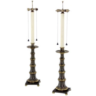 Stiffel Large Heavy Bronze Table Lamps - a Pair For Sale