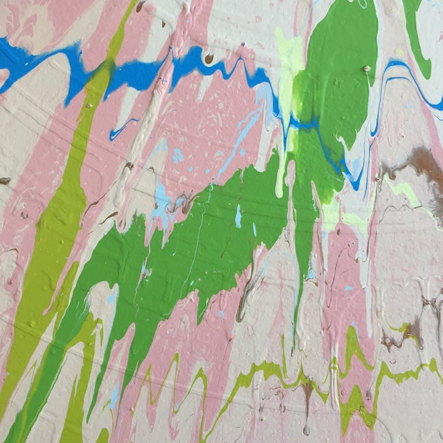 Blue Abstract Color Field - Pink/Green/Blue For Sale - Image 8 of 9