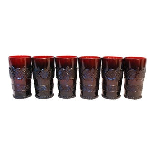 Vintage Avon Ruby Red Cape Cod Glasses - Set of 6 For Sale