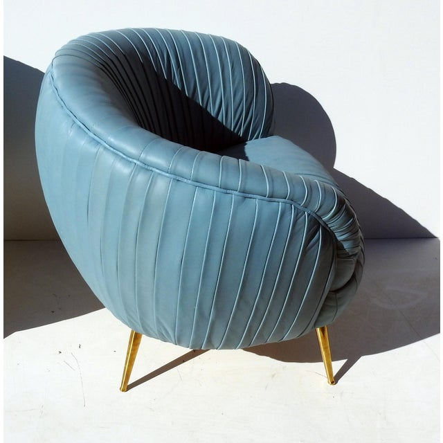 Italian Leather Lounge Chairs - A Pair - Image 6 of 7