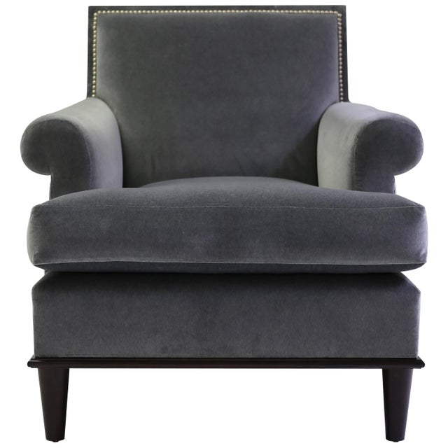 Gray Club Chair With Nail Trimmed Square Back With Scroll Arms and Loose Seat Cushion For Sale - Image 8 of 8