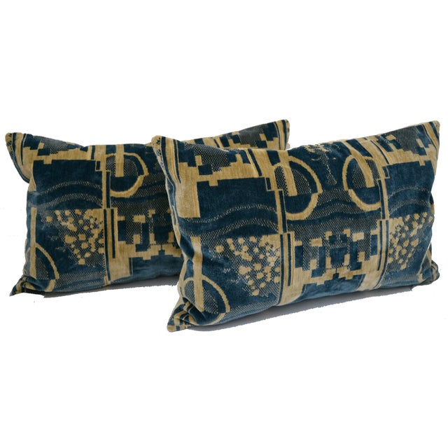 Luigi Bevilacqua of Milan Blue Art Deco Velvet Lumbar Pillows - a Pair For Sale - Image 12 of 12