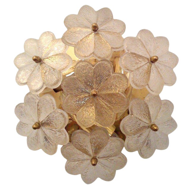 1950s Mid-Century Modern Austrian Glass Ceiling Light For Sale