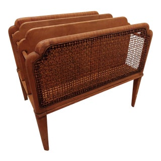 Vintage Mid-Century Modern Wood and Wicker Magazine Rack For Sale