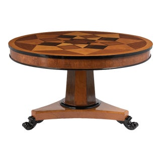 French Traditional Empire Style Round Marquetry Center Table For Sale