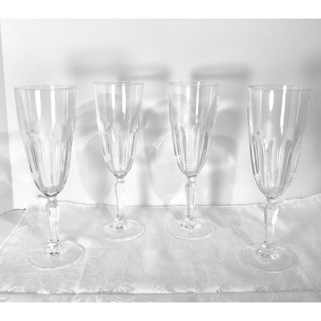 "Transparent Set of 4 Vintage Champagne Glass Crystal D'Arques Durand ""Washington"" For Sale - Image 8 of 8"