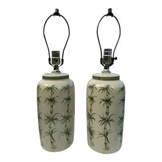 1970s Boho Chic Bamboo Painted Palm Tree Motif Ceramic Lamps - a Pair