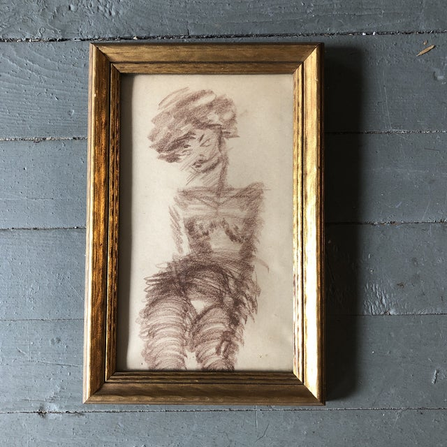 Original Vintage Female Nude Abstract Sepia Drawing Framed For Sale - Image 4 of 4