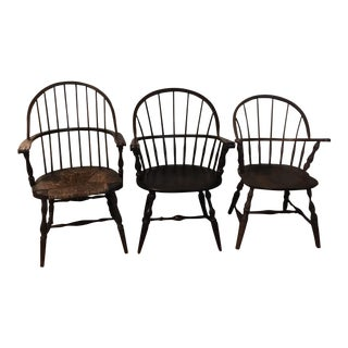 Vintage Assorted Rush Seat Windsor Chairs - Set of 3 For Sale