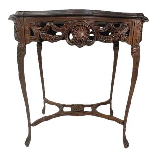 Mid 20th Century French Carved Style Mahogany Table For Sale