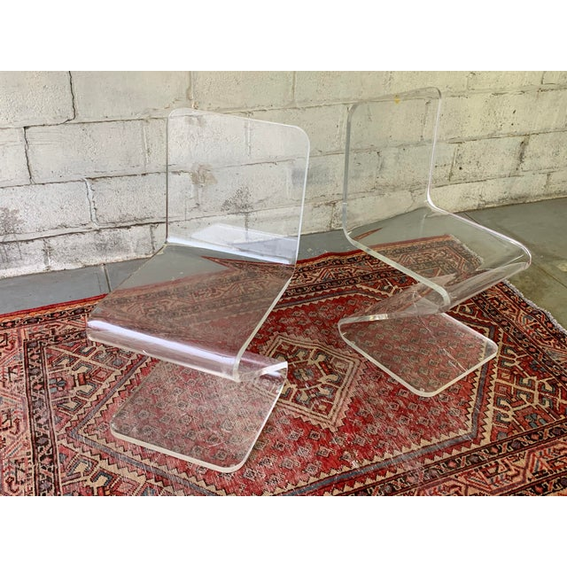 Plastic Mid Century Modern Lucite Chairs, a Pair For Sale - Image 7 of 11