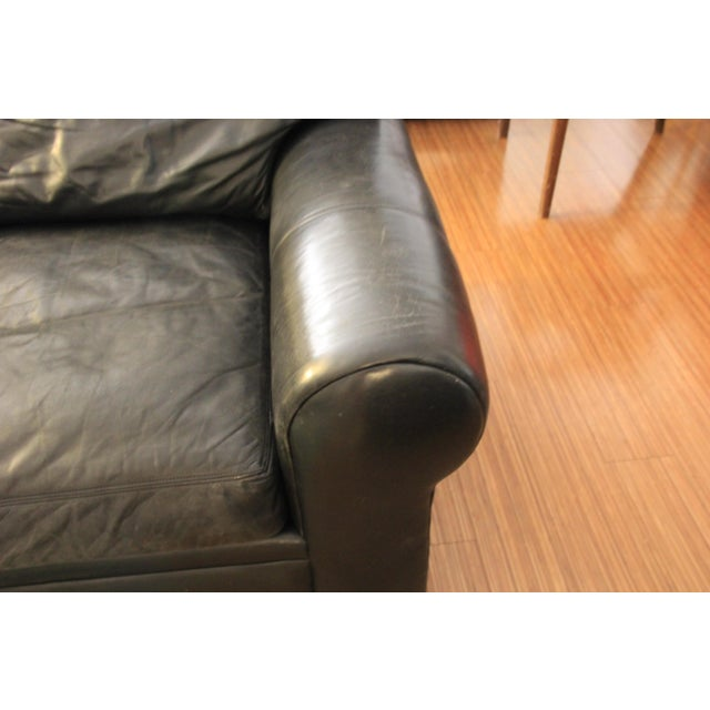 Animal Skin Maurice Villency Down Filled Black Leather Sofa For Sale - Image 7 of 11