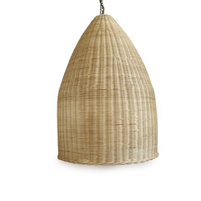Contemporary Raw Wicker Pod Lantern Small For Sale - Image 3 of 5