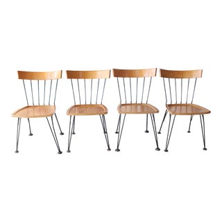 1960s Vintage Paul McCobb Style Iron and Wood Dining Chairs- Set of 4 For Sale