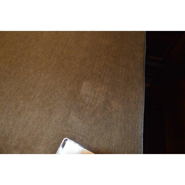Custom Brown Velvet Ottoman - Image 5 of 6