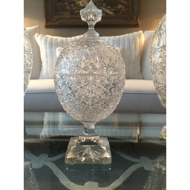 Contemporary Vintage Russian Cut Crystal Pedestal Compote For Sale - Image 3 of 6