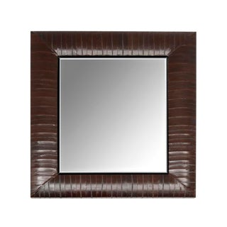 Contemporary Genuine Brown Eel Skin Framed Mirror For Sale