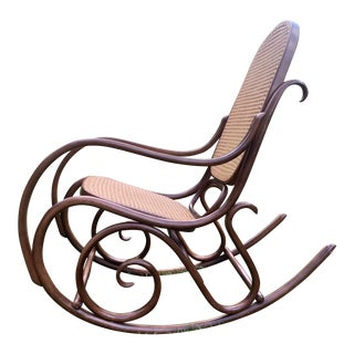 Bentwood & Caned Thonet Style Rocking Chair For Sale