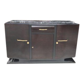 French Art Deco Macassar Ebony Sideboard or Credenza Marble top Circa 1940s.