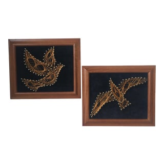 Copper Wire Bird Artwork - A Pair For Sale