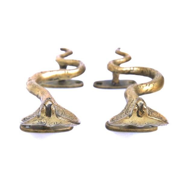 Hollywood Regency Brass Cobra Door Handles - a Pair For Sale - Image 3 of 5