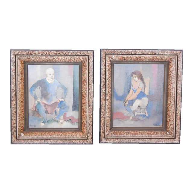 1950's Vintage Contemporary Paintings by Steven- A Pair For Sale