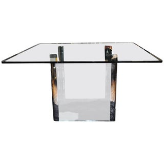 Pace Collection Chrome and Glass Square Dining Table Base, 1970's For Sale