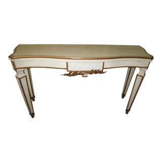 Antique White & Gold Accented Console Table For Sale