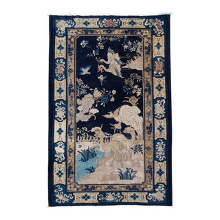 Chinese Art Deco Rug with Hues of Midnight and Royal Blue, Sand and Rose For Sale