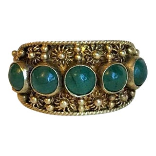Chinese Gold-Plated Sterling and Jade Ring For Sale