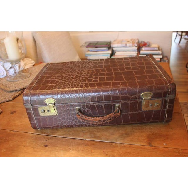 Brown Faux Crocodile Suitcase - Image 5 of 6