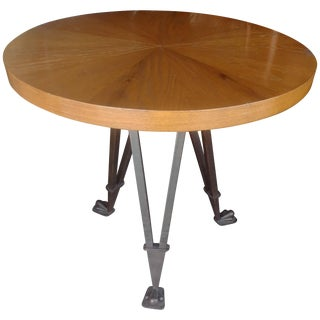 Andre Arbus Style Side, Occasional Table, Wrought Iron Base For Sale