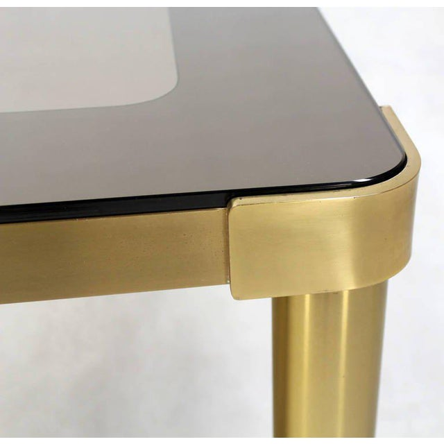 Mastercraft Mid-Century Modern Brass and Two-Tone Glass Coffee Table by Mastercraft For Sale - Image 4 of 11