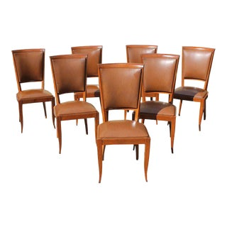 1940s French Art Deco Solid Mahogany Dining Chairs - Set of 7 For Sale