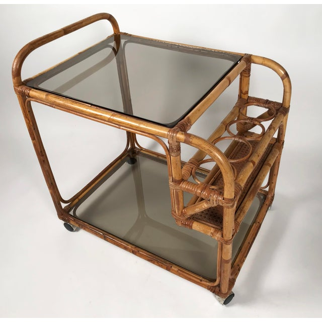 Hollywood Regency Rattan and Smoked Glass Bar Cart For Sale - Image 3 of 8