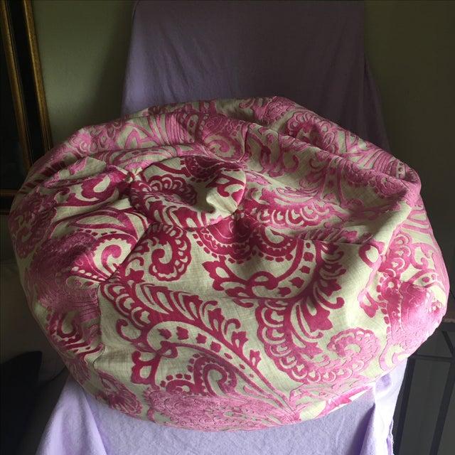 Retro Pink Burnt Velvet Bean Bag Chair - Image 3 of 4
