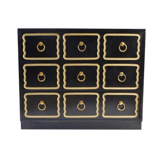 1960s Regency Draper Style Black and Brass Chest of Drawers For Sale
