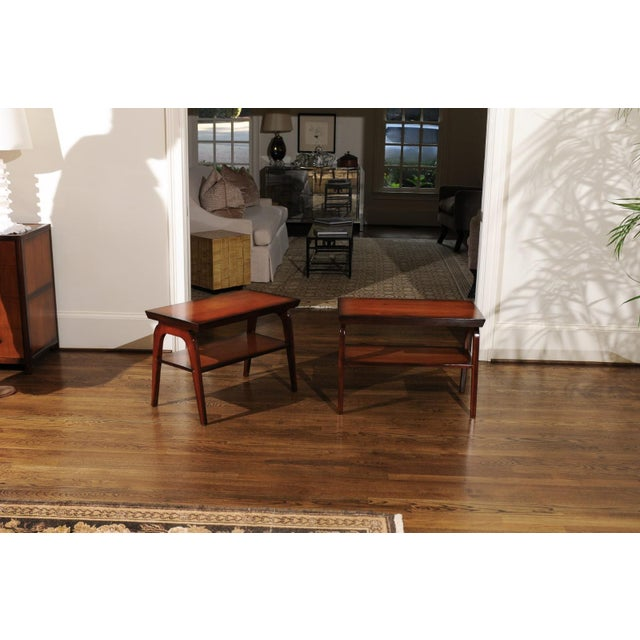 Wood Rare Restored Pair of End Tables by John Wisner for Ficks Reed, Circa 1954 For Sale - Image 7 of 13