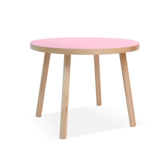 """Nico & Yeye Poco Large Round 30"""" Kids Table in Maple With Pink Finish Accent For Sale - Image 4 of 4"""