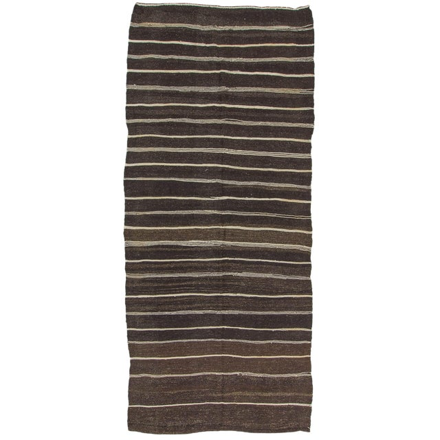 Vintage Natural Stripe Turkish Kilim - 5′6″ × 12′6″ For Sale