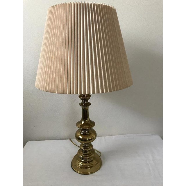 Brass Stiffel Style Brass Table Lamp With Pleated Shade For Sale - Image 7 of 7