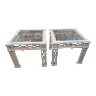 Palm Beach Regency Fretwork Side Tables - a Pair For Sale