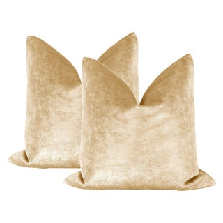 "Contemporary 22"" Gold Metallic Velvet Pillows - a Pair"